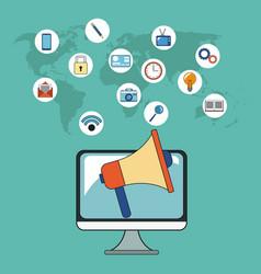Digital marketing campaign social network vector