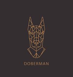 doberman dog in geometric modern style vector image