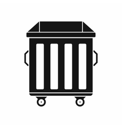 Dumpster on wheels icon simple style vector
