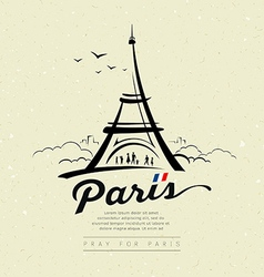 Eiffel tower sketch design on cream recycle vector