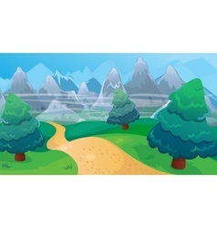 Fir forest background with road vector