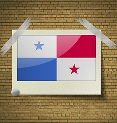 Flags panamaat frame on a brick background vector