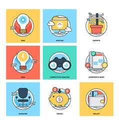 Flat Color Line Design Concepts Icons 15 vector image vector image