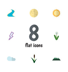 Flat icon natural set of overcast lunar peak and vector