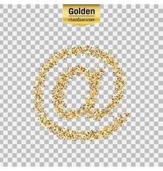 Gold glitter icon of e-mail isolated on vector