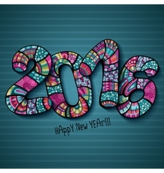 Happy New Year 2016 Decorative hand drawn vector image vector image