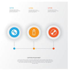 hardware icons set collection of cd-rom battery vector image vector image