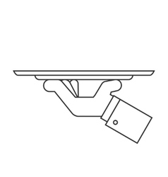 Holding tray line icon vector