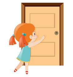 Little girl pushing the door open vector