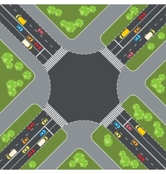 Road intersection with cars top view vector