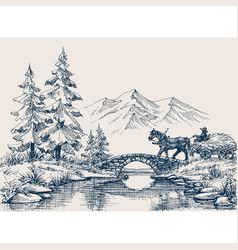 Rural idyllic landscape horse cart vector