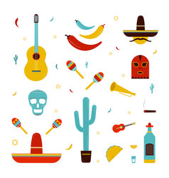 set on a mexico theme different mexican bright vector image vector image