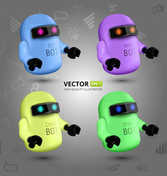 Set with four colorful chat bots vector