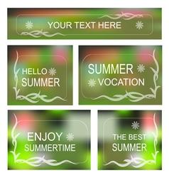 Summertime background decorative frame set vector