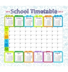 Template school timetable Royalty Free Vector Image
