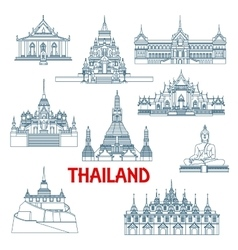 Thai travel landmarks thin line icons vector