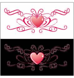 two identical hearts vector image vector image