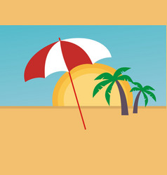 umbrella on the beach vector image