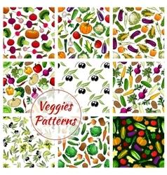 Veggies vegetables seamless patterns set vector