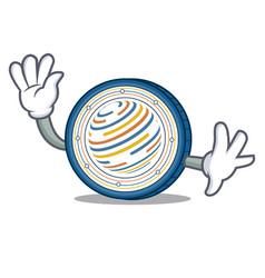 Waving factom coin character cartoon vector