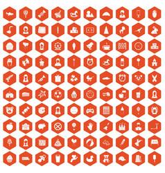 100 child center icons hexagon orange vector