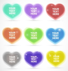 Sparkling colorful editable hearts vector
