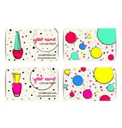 Sketchy nail art buisness cards templates set vector