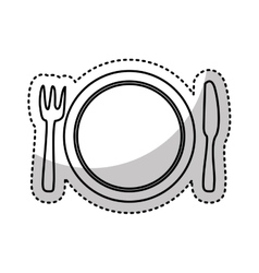 Kitchen dish and cutlery isolated icon vector