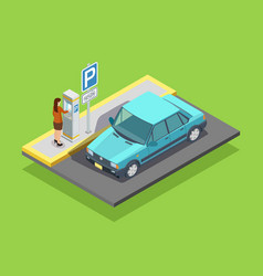 Parking isometric template vector