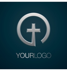 Christian church silver logo vector