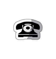 Sticker black silhouette antique phone with vector