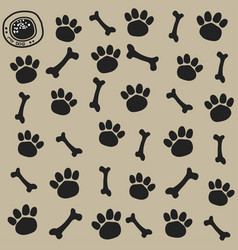 dog trail and bone pattern seamless vector image