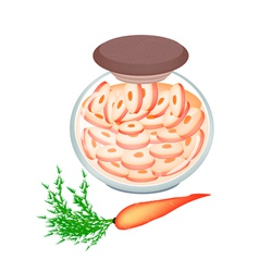 Delicious pickled carrot roots in a jar vector