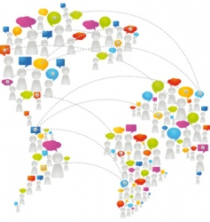 speech bubbles world map vector image