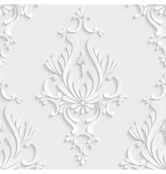 3d Floral Damask Seamless Pattern vector image