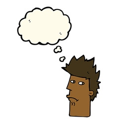 Cartoon nervous expression with thought bubble vector
