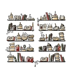 Book shelves sketch for your design vector image