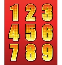 Retro numbers for signs with lamps vector