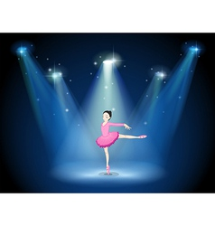 A lady in pink dancing ballet with spotlights vector image