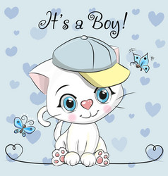 Baby shower greeting card with cute kitten boy vector