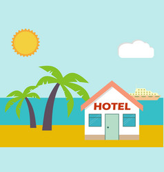 Beach house hotel flat scene with house sea vector