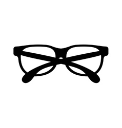 Black silhouette graphic with oval glasses lens vector