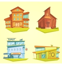 Building cartoon set vector