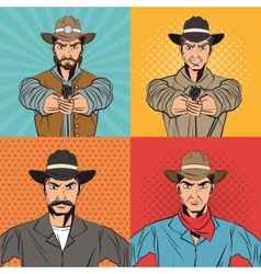 Cowboy man cartoon design vector image