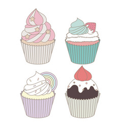 cupcakes design set vector image