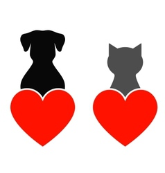 Dog and cat with heart vector