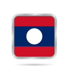 flag of laos shiny metallic gray square button vector image vector image