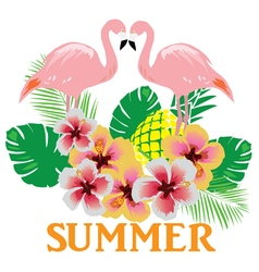 Flamingos summer vector