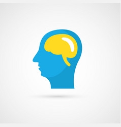 Flat human head and brain icon vector