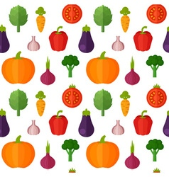 Flat vegetables seamless pattern vector image
